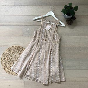 Free People Sleeveless Crochet Knit Mini Dress 12